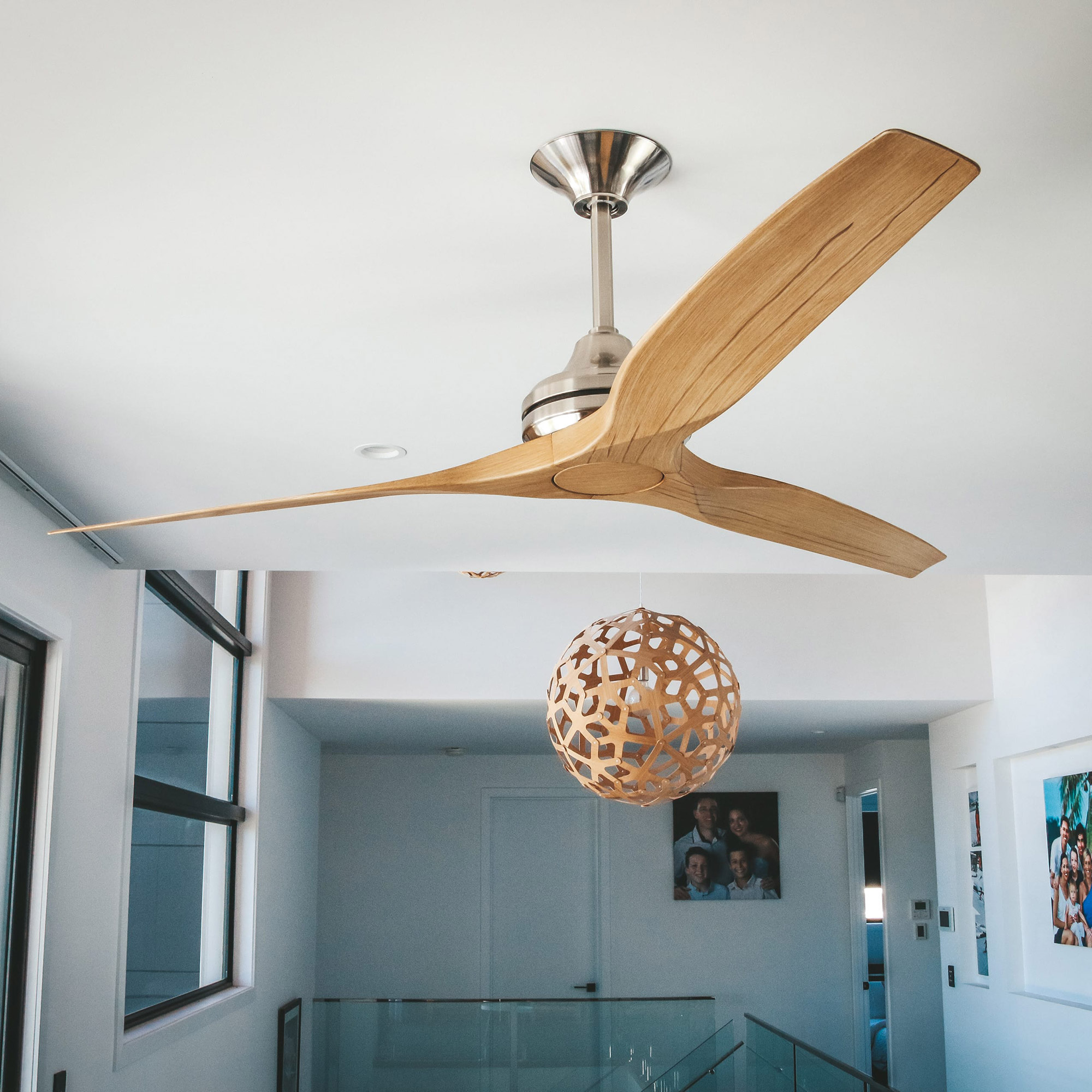 """60"""" Spitfire Ceiling Fan in Brushed Nickel with Natural blades"""