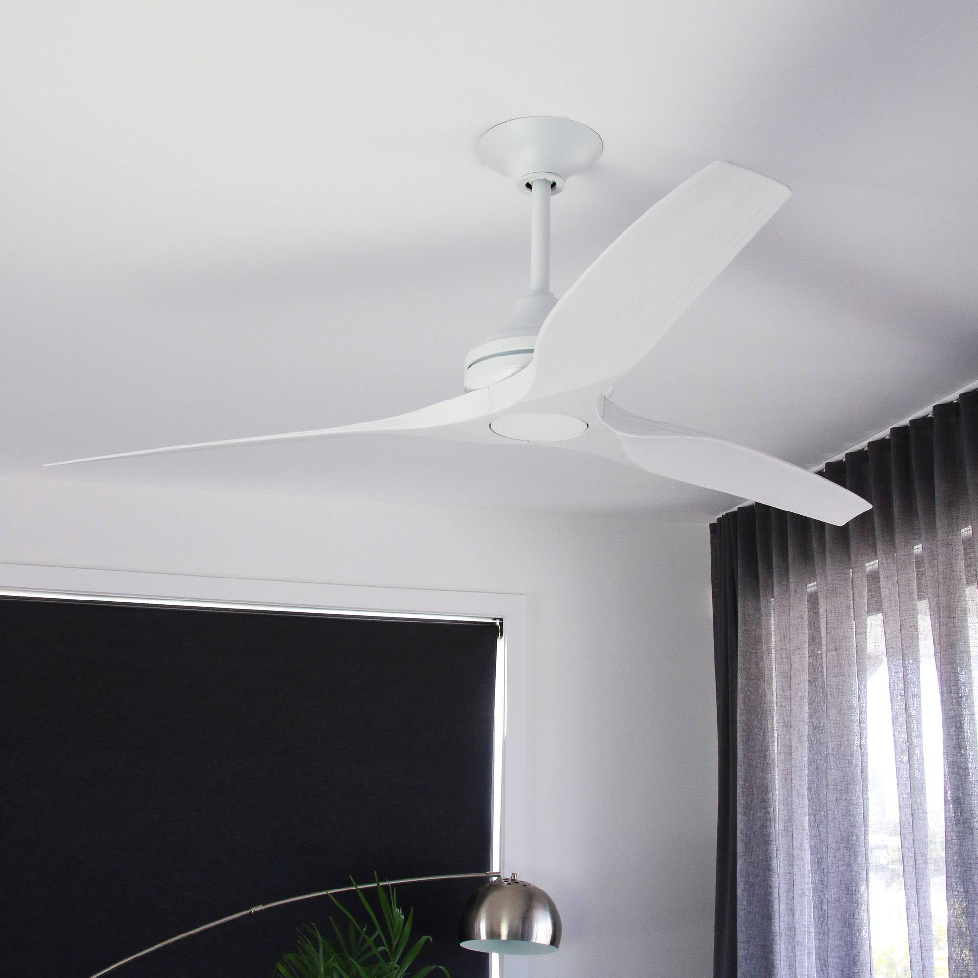 """60"""" Spitfire Ceiling Fan in Matte White with White Wash blades"""