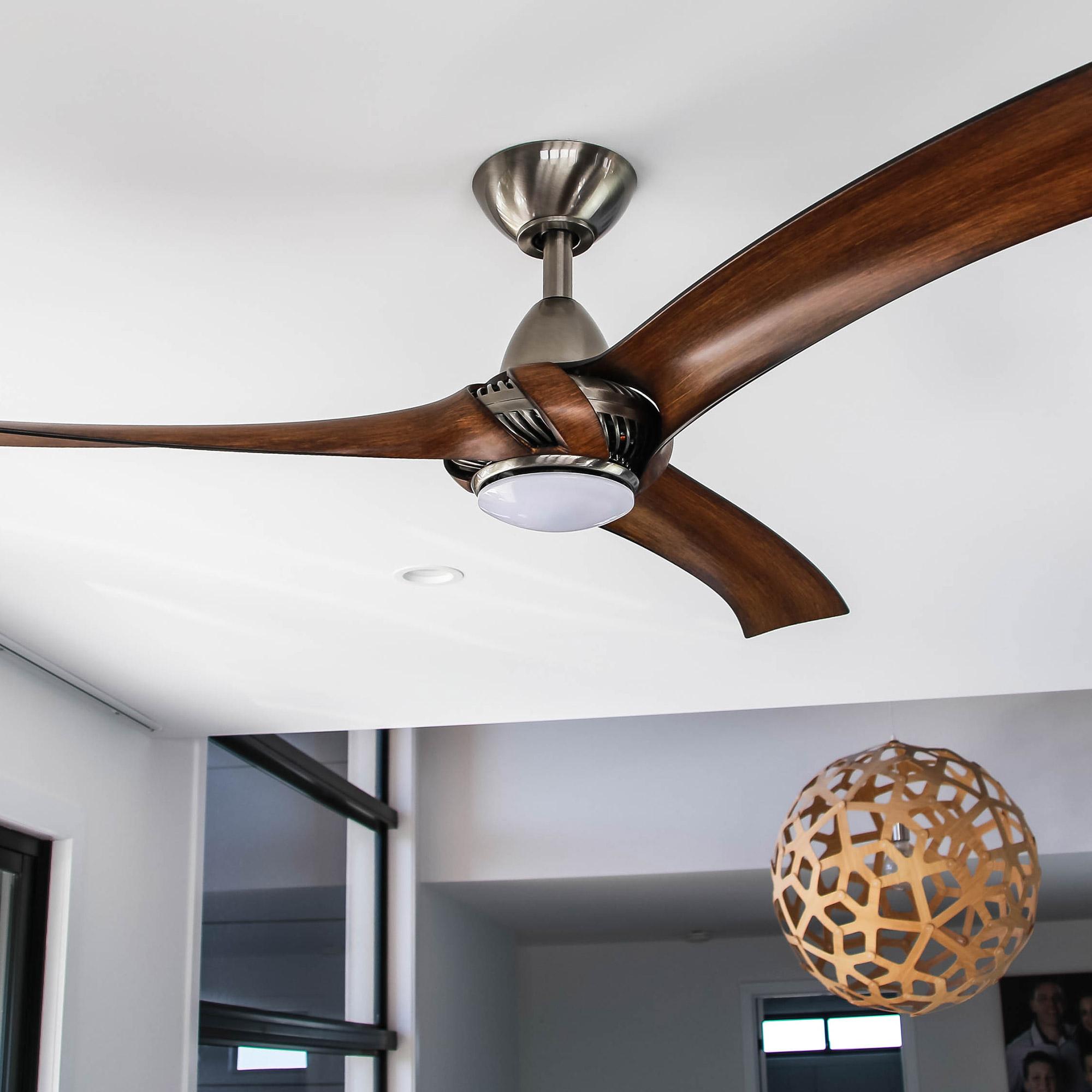 Arumi Ceiling Fan Pewter Koa LED Light