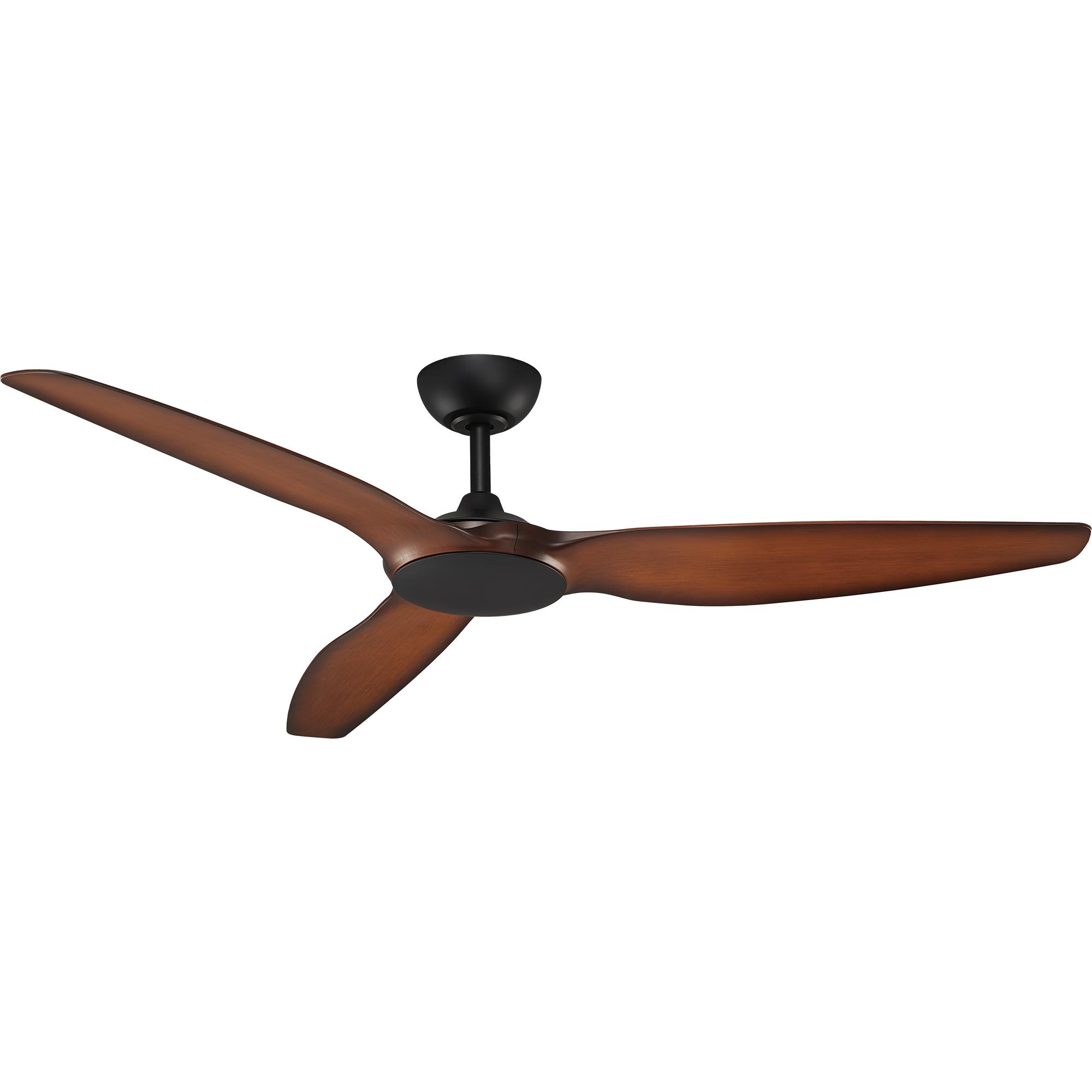 """60"""" Flume Ceiling Fan in Black with Koa blades"""