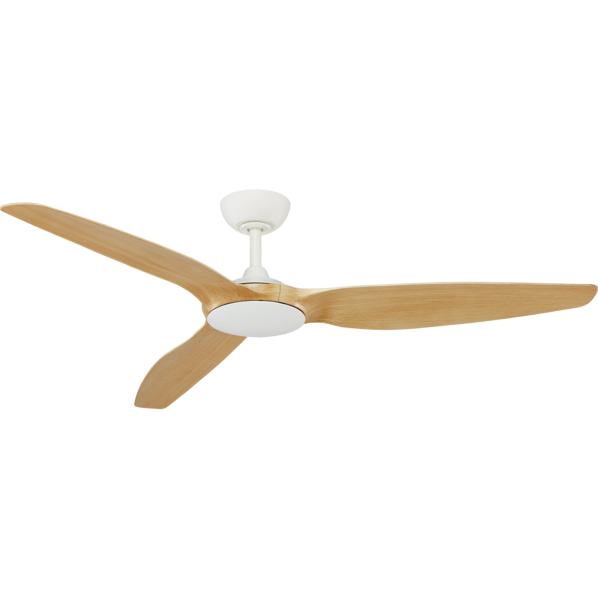 """60"""" Flume Ceiling Fan in Matte White with Natural blades"""