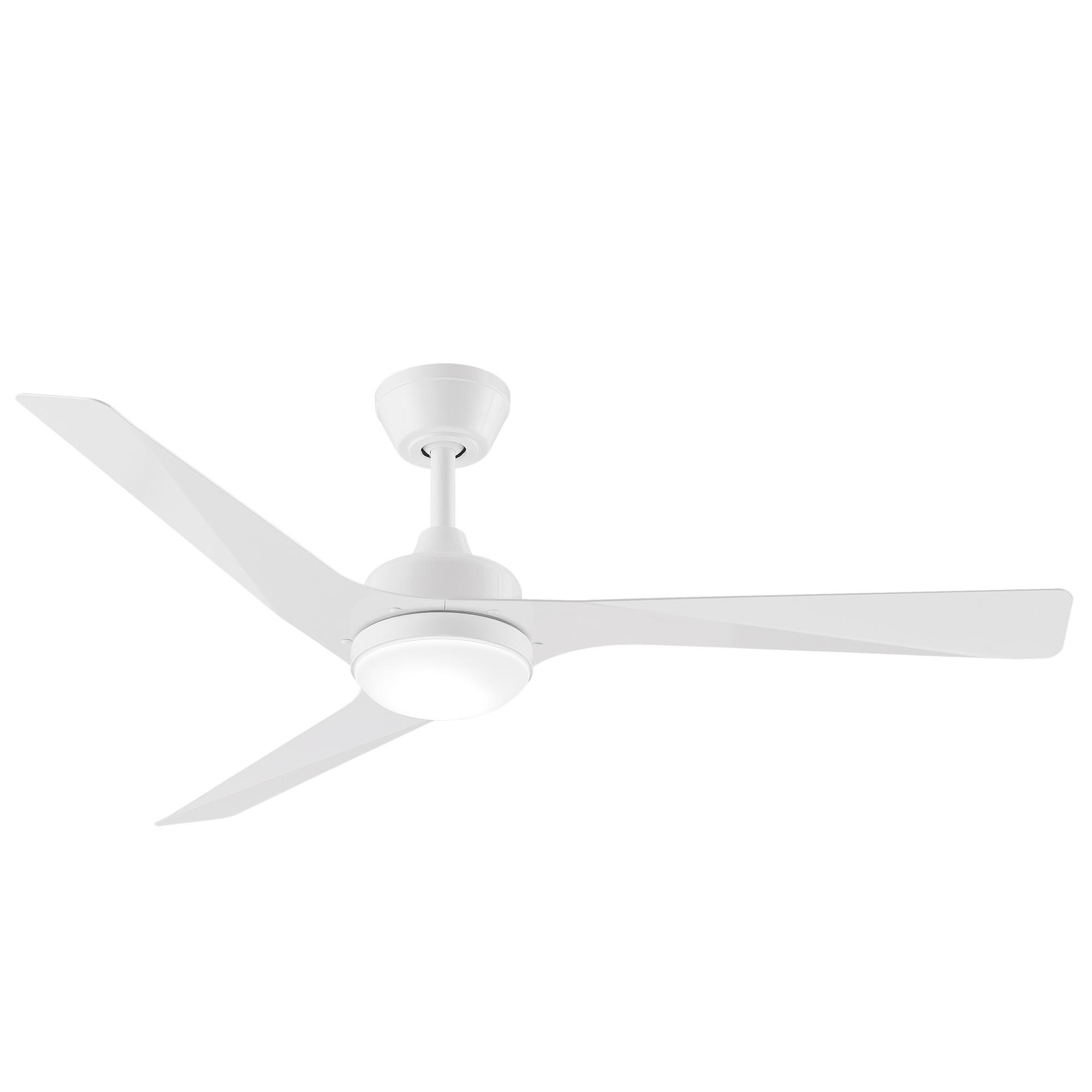 "52"" Modn-3 Ceiling Fan in White with LED Light"