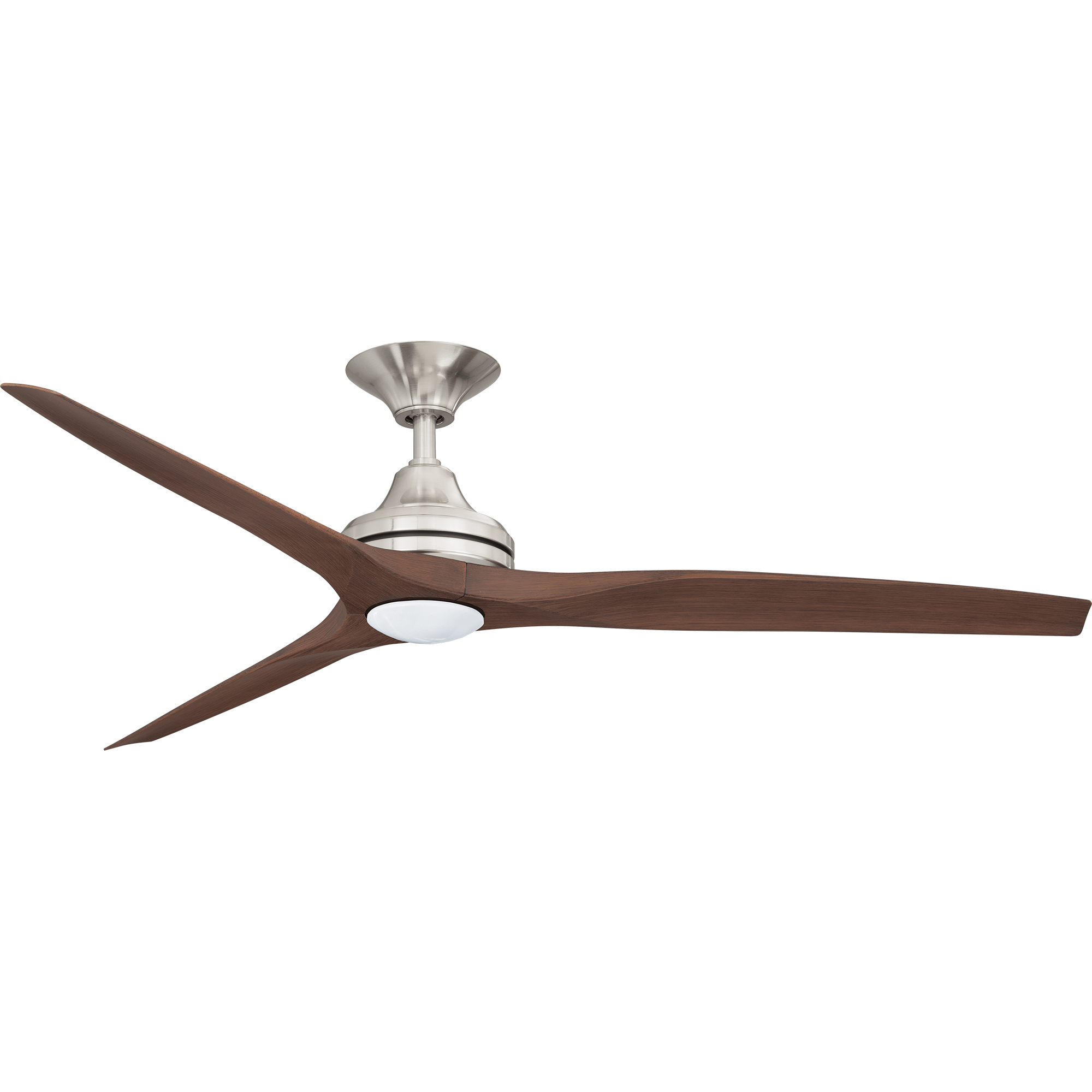 """60"""" Spitfire in Brushed Nickel with Walnut polymer blades and 17W LED light kit"""