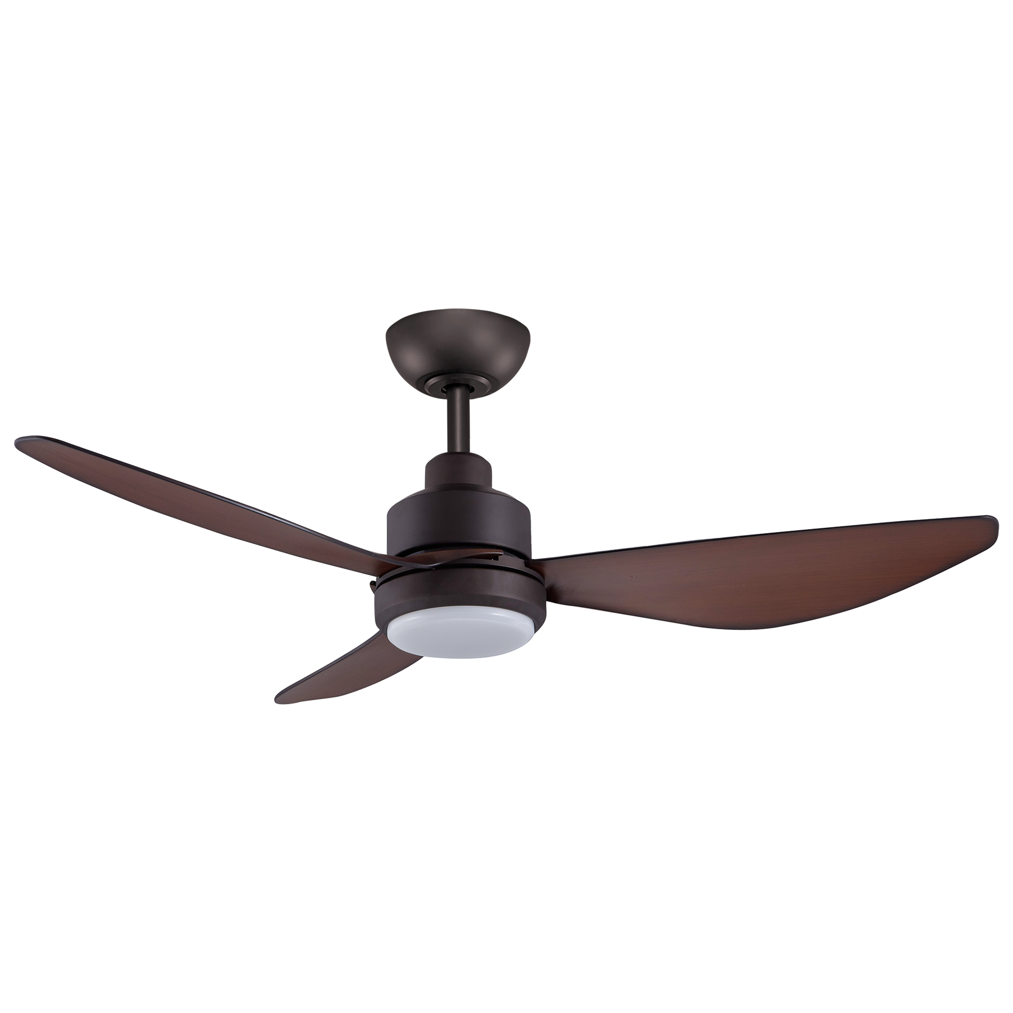 """48"""" Trinity DC Ceiling Fan in Oil-rubbed Bronze with Koa blades and 20W LED Light"""