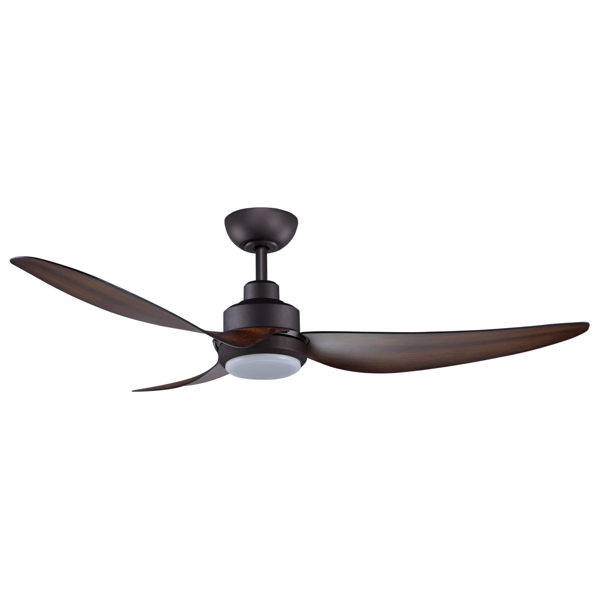 """56"""" Trinity DC Ceiling Fan in Oil-rubbed Bronze with Koa blades and 20W LED Light"""