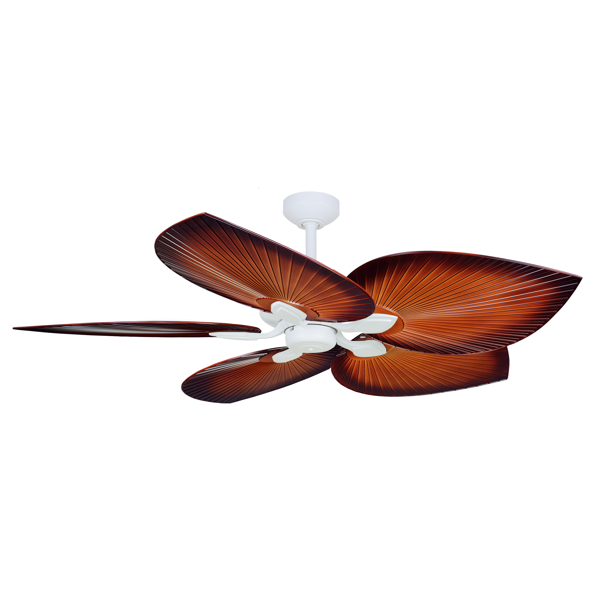 """54"""" Tropicana Ceiling Fan in Matte White with Palm Brown polymer blades"""