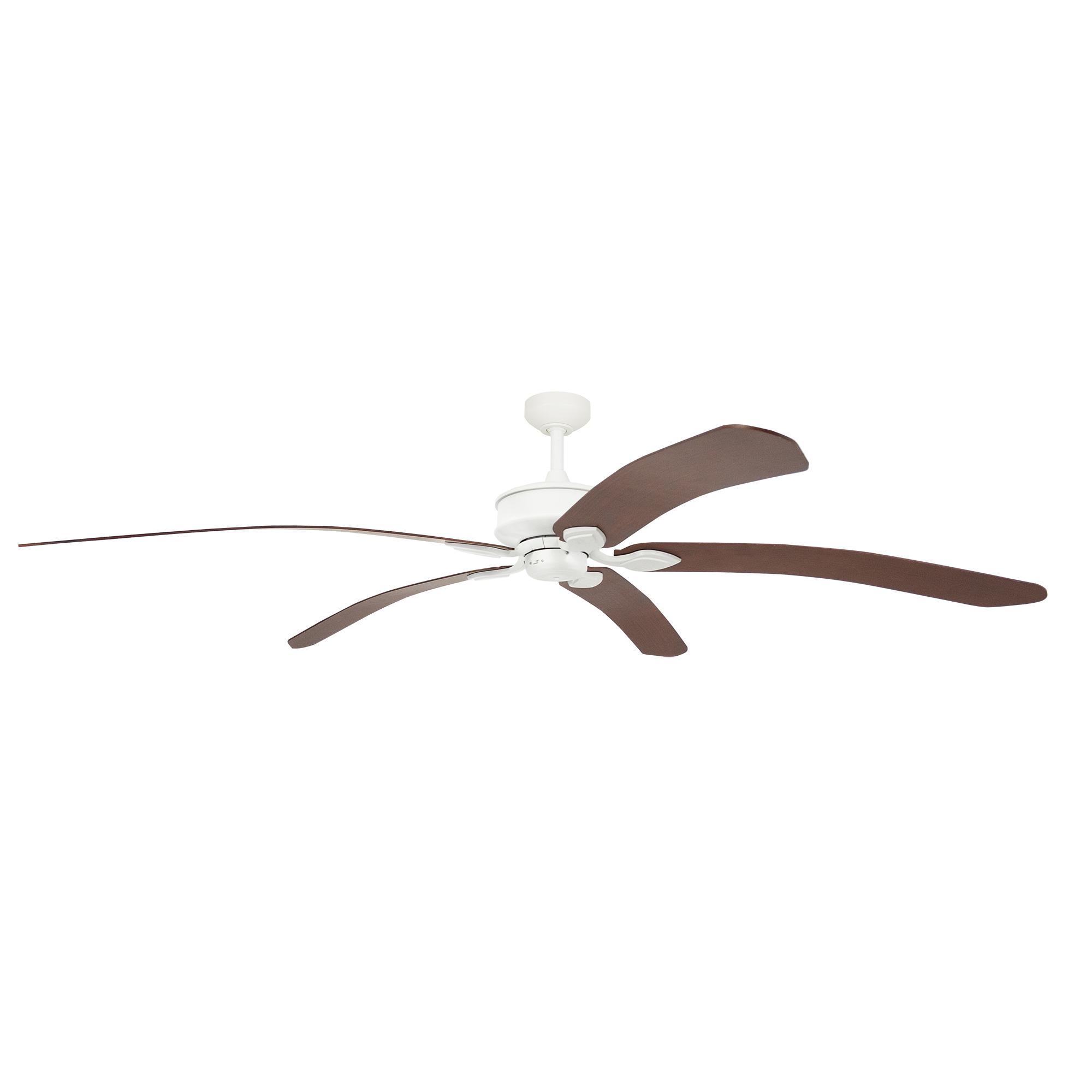 "72"" Tropicana Ceiling Fan in Matte White with Walnut blades"