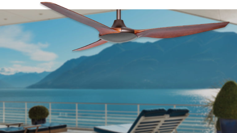 All-weather polymer Delta DC ceiling fan is ideal for coastal cooling